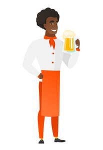 African-american chef cook drinking beer. Full length of widely smiling chef cook with beer. Young happy chef cook holding mug of beer. Vector flat design illustration isolated on white background.