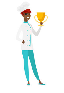 African-american chef cook holding a golden trophy. Full length of young chef cook with trophy. Chef cook celebrating with golden trophy. Vector flat design illustration isolated on white background.