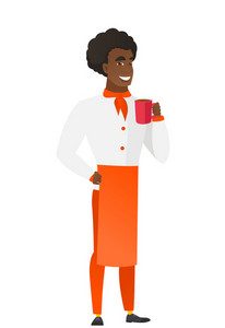 African-american chef cook holding cup of coffee. Full length of chef cook in uniform drinking coffee. Happy chef cook with cup of coffee. Vector flat design illustration isolated on white background.