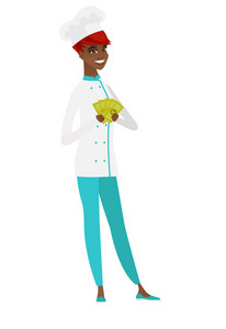African-american chef cook holding money. Excited chef cook standing with money in hands. Full length of smiling chef cook with money. Vector flat design illustration isolated on white background.