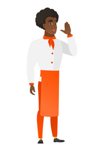 African-american chef cook in uniform calling for help. Full length of chef cook calling for help. Chef cook in trouble calling for help. Vector flat design illustration isolated on white background.