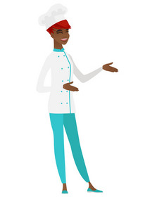 African-american chef cook in uniform gesturing. Full length of chef cook gesturing with her hands. Chef cook laughing and gesturing. Vector flat design illustration isolated on white background.