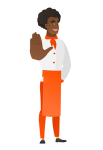 African-american chef cook in uniform showing palm hand. Full length of chef cook showing palm hand. Chef making stop gesture by his palm. Vector flat design illustration isolated on white background.
