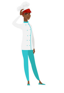 African-american chef cook scratching her head. Full length of thoughtful chef cook scratching head. Puzzled chef cook scratching her head. Vector flat design illustration isolated on white background