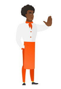 African-american chef cook showing stop hand gesture. Full length of chef cook doing stop gesture. Serious chef cook with a stop gesture. Vector flat design illustration isolated on white background.