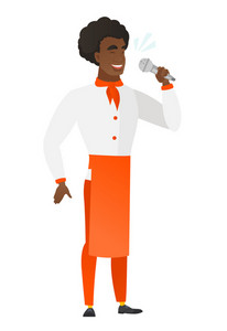 African-american chef cook singing to the microphone. Full length of chef cook singing with closed eyes. Chef cook singing to the mic. Vector flat design illustration isolated on white background.