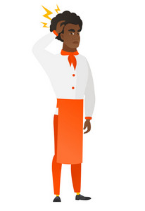 African-american chef cook with lightning over head. Full length of chef cook with lightning. Confident chef cook standing under lightning. Vector flat design illustration isolated on white background