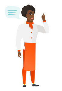 African-american chef cook with speech bubble. Chef cook giving speech on conference. Chef cook with speech bubble coming out of his head. Vector flat design illustration isolated on white background.
