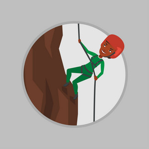 African-american climber in action. Rock climber in protective helmet climbing on a rock. Woman climbing in mountains with rope. Vector flat design illustration in the circle isolated on background.