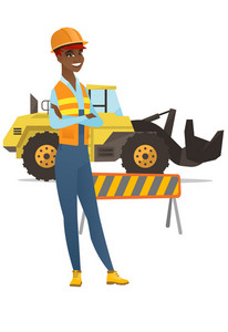 African-american confident builder standing on the background of excavator and road barrier. Confident builder standing with arms crossed. Vector flat design illustration isolated on white background.