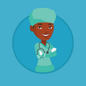African-american confident surgeon in medical uniform. Surgeon standing with arms crossed. Surgeon with stethoscope on her neck. Vector flat design illustration in the circle isolated on background.