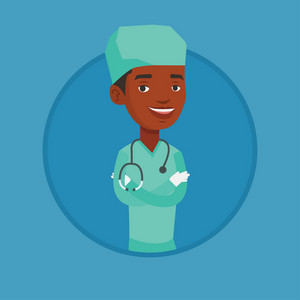 African-american confident surgeon in medical uniform. Surgeon standing with arms crossed. Surgeon with stethoscope on his neck. Vector flat design illustration in the circle isolated on background.