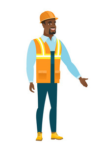African-american constructor with arm out in welcoming gesture. Full length of welcoming constructor. Constructor doing a welcome gesture. Vector flat design illustration isolated on white background.