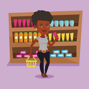 African-american customer shopping at supermarket with basket. Young customer holding a shopping basket in one hand and a tube of cream in another. Vector flat design illustration. Square layout.