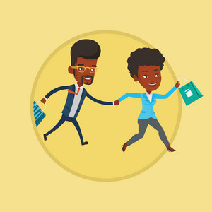 African-american customers rushing on sale. People rushing on sale to the shop. Woman and man running in hurry to store on sale. Vector flat design illustration in the circle isolated on background.