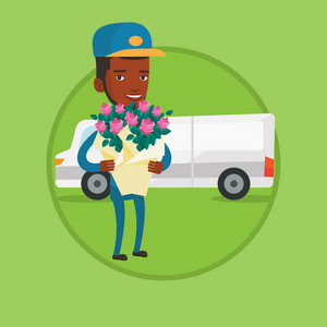 African-american delivery courier with flowers standing on the background of delivery truck. Delivery courier delivering flowers. Vector flat design illustration in the circle isolated on background.