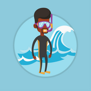 African-american diver enjoying snorkeling. Diver standing in diving suit, flippers, mask and tube. Diver ready for snorkeling. Vector flat design illustration in the circle isolated on background.