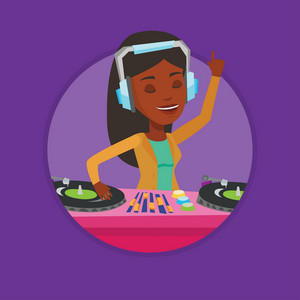 African-american DJ in headphones at the party in night club. DJ mixing music on turntables. DJ playing and mixing music on deck. Vector flat design illustration in the circle isolated on background.