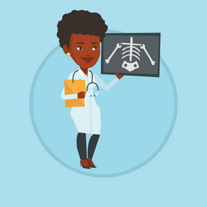 African-american doctor examining a radiograph. Young doctor looking at a chest radiograph. Doctor observing a skeleton radiograph. Vector flat design illustration in the circle isolated on background