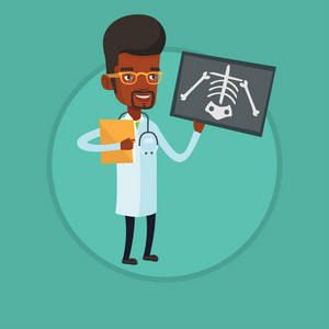 African-american doctor examining a radiograph. Young doctor looking at chest radiograph. Doctor observing a skeleton radiograph. Vector flat design illustration in the circle isolated on background.