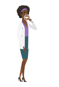 African-american doctor examining teeth with magnifier. Young doctor holding magnifying glass in front of teeth. Teeth examining concept. Vector flat design illustration isolated on white background.