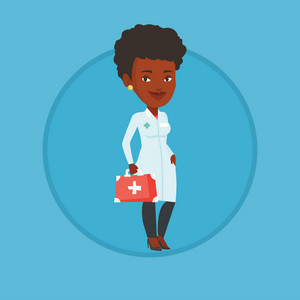African-american doctor in medical gown holding first aid box. Doctor standing with first aid kit. Doctor carrying first aid box. Vector flat design illustration in the circle isolated on background.