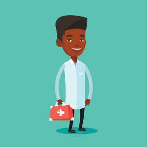 African-american doctor in medical gown holding first aid box. Friendly doctor in uniform standing with first aid kit. Doctor carrying first aid box. Vector flat design illustration. Square layout.