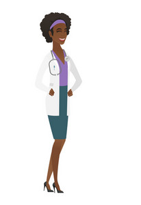 African-american doctor in medical gown laughing. Doctor laughing with hands on stomach. Doctor laughing with closed eyes and open mouth. Vector flat design illustration isolated on white background.