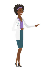 African-american doctor in medical gown pointing to the side. Doctor pointing her finger to the side. Doctor pointing to the right side. Vector flat design illustration isolated on white background.