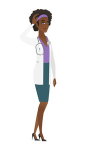 African-american doctor in medical gown scratching head. Full length of thoughtful doctor scratching head. Puzzled doctor scratching head. Vector flat design illustration isolated on white background.