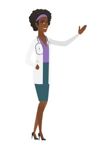 African-american doctor in medical gown showing a direction. Full length of doctor pointing at something and showing a direction by hand. Vector flat design illustration isolated on white background.