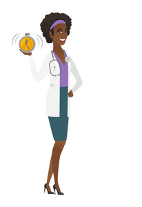 African-american doctor in medical gown showing ringing alarm clock. Full length of doctor with alarm clock. Doctor holding alarm clock. Vector flat design illustration isolated on white background.