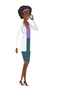 African-american doctor in medical gown talking on a mobile phone. Smiling doctor talking on cell phone. Young doctor with mobile phone. Vector flat design illustration isolated on white background.