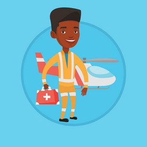 African-american doctor of air ambulance standing in front of rescue helicopter. Doctor of air ambulance with first aid box. Vector flat design illustration in the circle isolated on background.