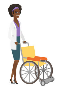 African-american doctor pushing an empty wheelchair. Full length of cheerful doctor standing near wheelchair. Young doctor with wheelchair. Vector flat design illustration isolated on white background