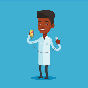 African-american doctor showing application for checking heart rate pulse. Doctor holding smartphone with application for measuring heart rate pulse. Vector flat design illustration. Square layout.