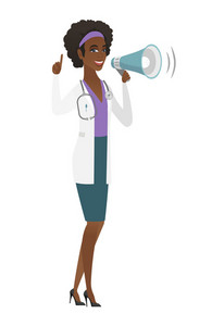 African-american doctor with a loudspeaker making an announcement. Doctor in medical gown making an announcement through a loudspeaker. Vector flat design illustration isolated on white background.