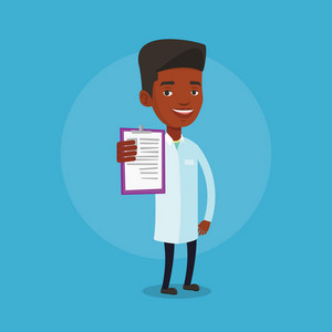 African-american doctor with patient records. Young male doctor showing clipboard with prescription. Male doctor in medical gown holding clipboard. Vector flat design illustration. Square layout.