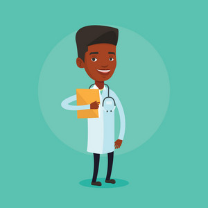 African-american doctor with stethoscope and folder. Doctor in medical gown carrying folder of patient. Doctor holding folder with medical information. Vector flat design illustration. Square layout.