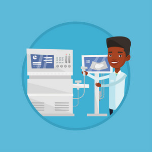 African-american doctor working on modern ultrasound equipment. Operator of ultrasound scanning machine analyzing liver of patient. Vector flat design illustration in the circle isolated on background