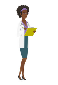 African-american doctor writing notes in a notepad. Doctor writing results of medical examination. Doctor writing medical prescription. Vector flat design illustration isolated on white background.