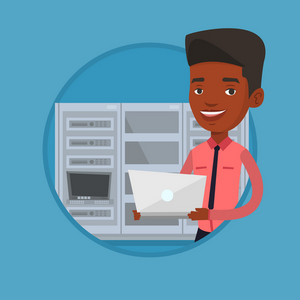 African-american engineer with laptop working in network server room. Young smiling network engineer using laptop in server room. Vector flat design illustration in the circle isolated on background.