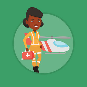 African-american female doctor of air ambulance standing in front of rescue helicopter. Doctor of air ambulance with first aid box. Vector flat design illustration in the circle isolated on background