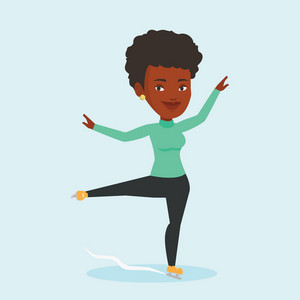 African-american female figure skater posing on skates. Professional female figure skater performing on ice skating rink. Young ice skater dancing. Vector flat design illustration. Square layout.