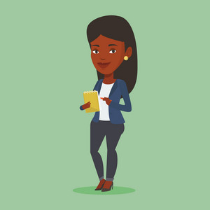 African-american female journalist writing notes on the notepad. Young journalist writing in notebook with pencil. Journalist writing notes with pencil. Vector flat design illustration. Square layout