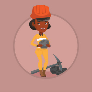 African-american female miner in hard hat holding coal in hands. Female miner with a pickaxe. Young miner working at coal mine. Vector flat design illustration in the circle isolated on background.