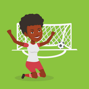 African-american female soccer player celebrating scoring goal. Young soccer player kneeling with raised arms on the background of gate with ball in it. Vector flat design illustration. Square layout.