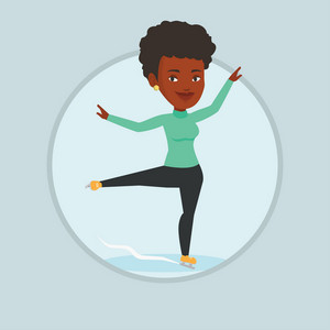 African-american figure skater posing on skates. Female figure skater performing on ice skating rink. Young ice skater dancing. Vector flat design illustration in the circle isolated on background.
