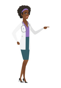 African-american furious doctor screaming and pointing finger to the right. Full length of aggressive doctor screaming and shaking finger. Vector flat design illustration isolated on white background.