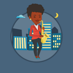 African-american girl playing on saxophone in the night. Musician playing on saxophone. Musician with saxophone in the city street. Vector flat design illustration in the circle isolated on background